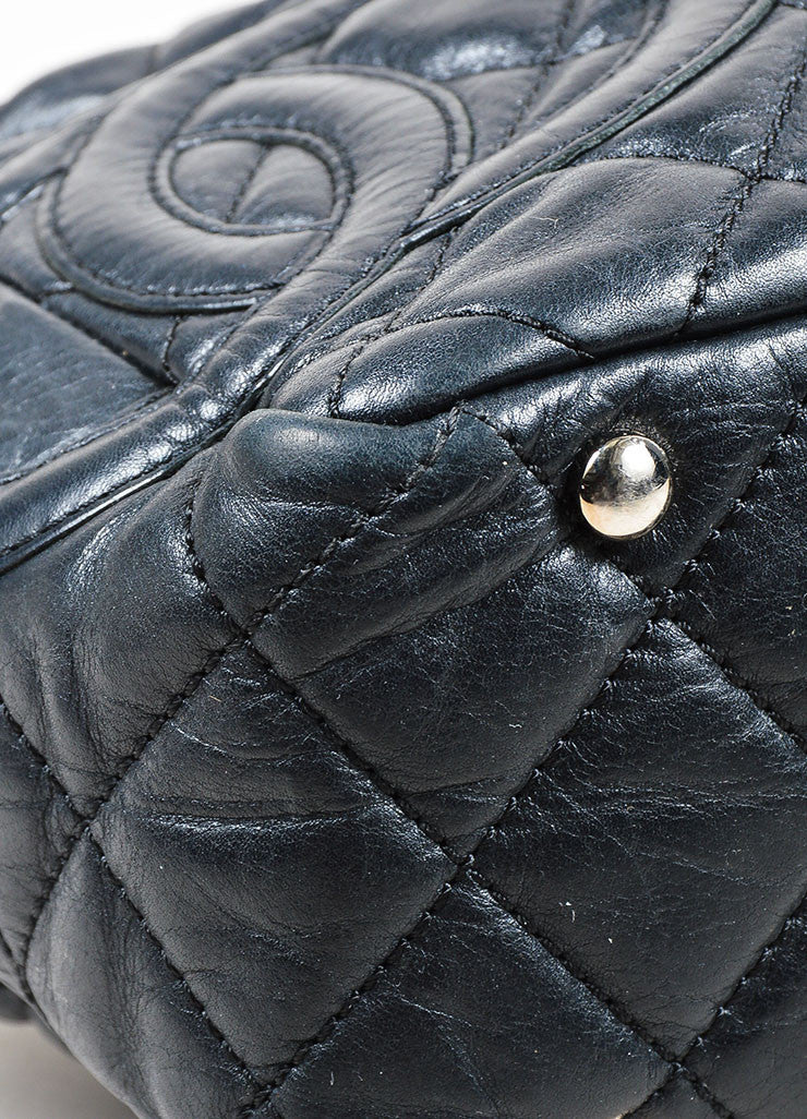 Black and Silver Toned Chanel Leather Quilted Shoulder Bag Detail