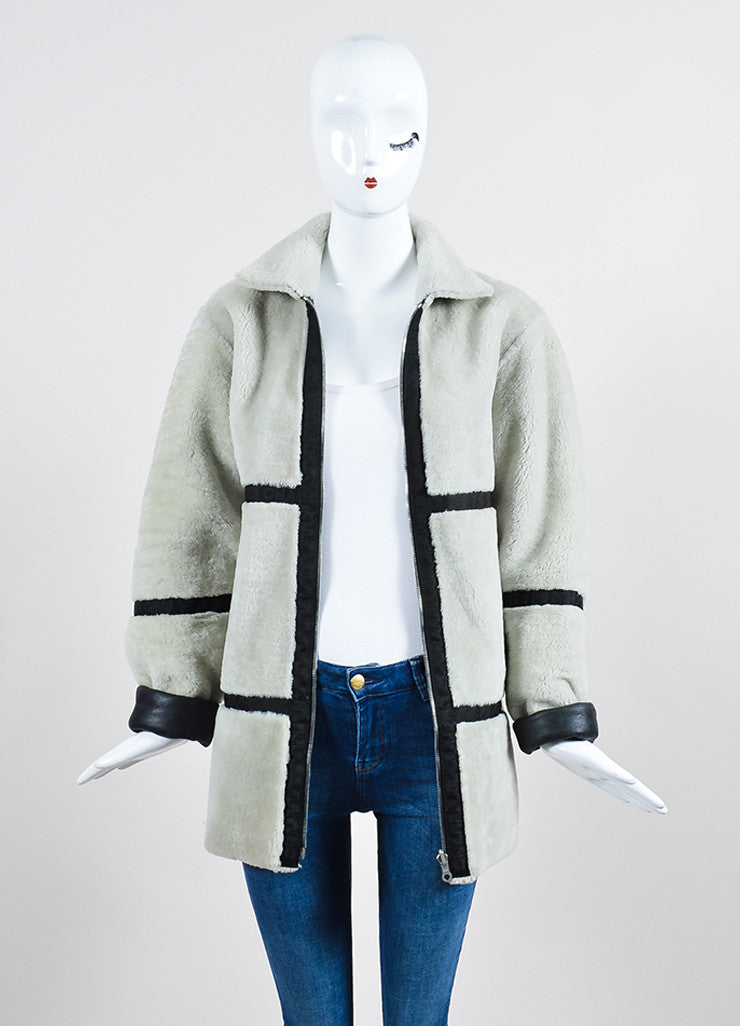 Black Leather and Cream Shearling Reversible Chanel Zip Up Coat Frontview 3