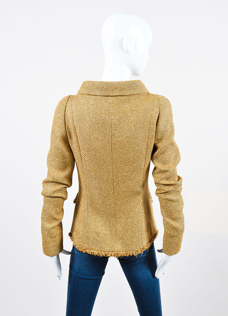 Metallic Gold Chanel Tweed Fringe Long Sleeve High-Low Jacket Backview
