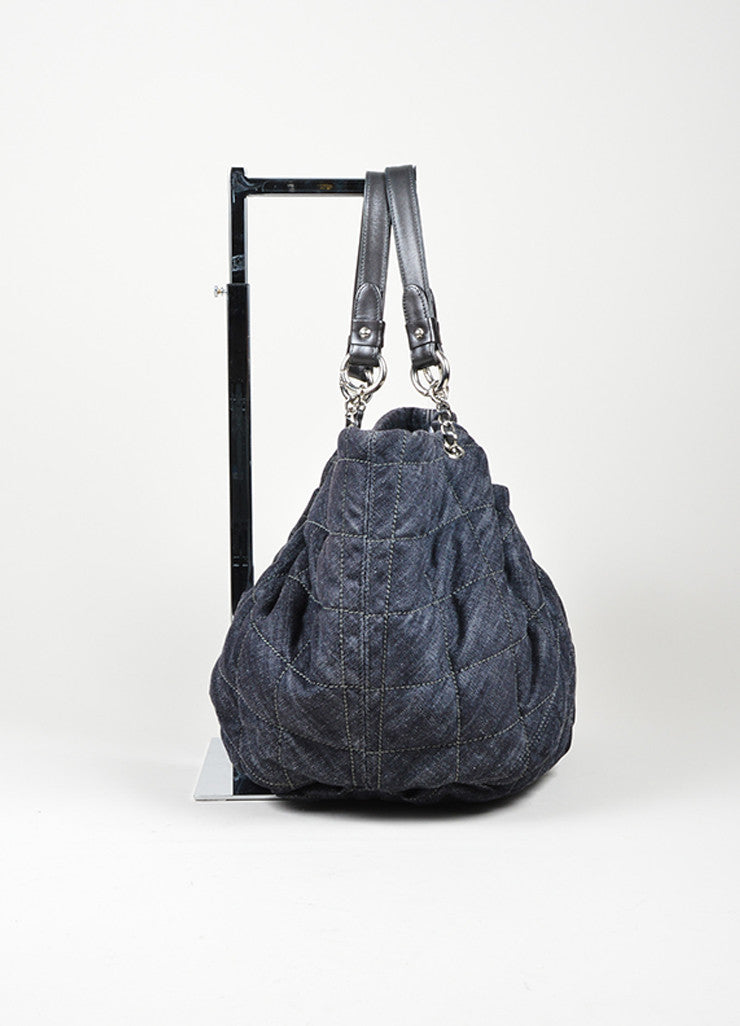 "Dark Blue Denim Chanel Quilted ""Cabas"" Tote Bag Sideview"