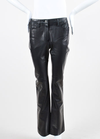 Black Chanel Leather Laser Cut Waist Pants Frontview