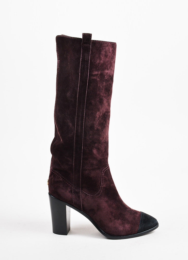 Chanel Purple and Black Suede Leather Cap Toe Block Heel Knee High Boots Sideview