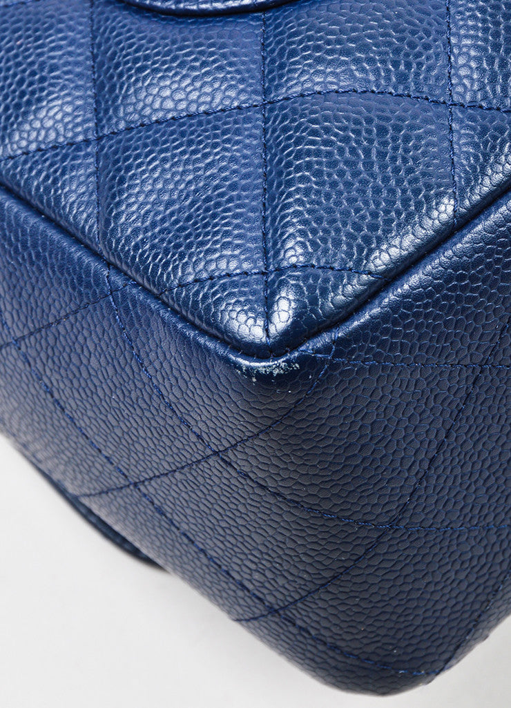 "Navy Chanel Caviar Leather Quilted Jumbo ""Classic Flap"" Shoulder Bag Detail"