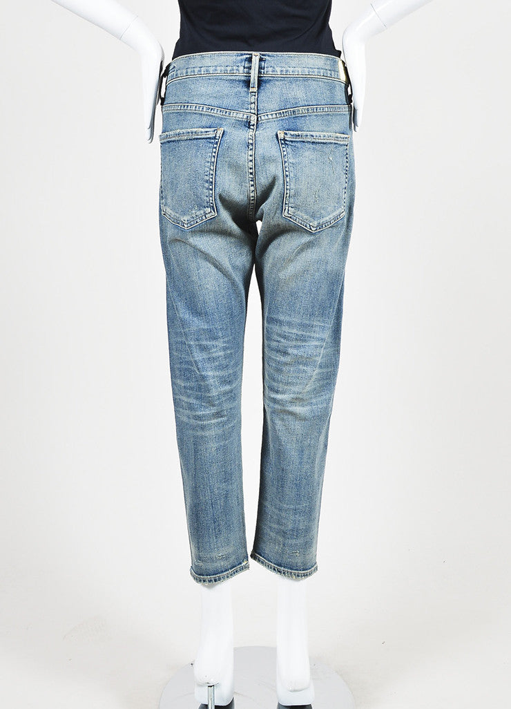 "Citizens of Humanity Blue Denim ""Corey Crop"" Slouchy Slim Jeans Backview"
