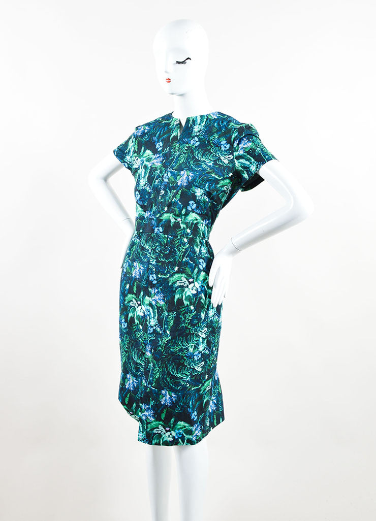 Erdem Green and Blue Tropical Floral Print Short Sleeve Dress Sideview
