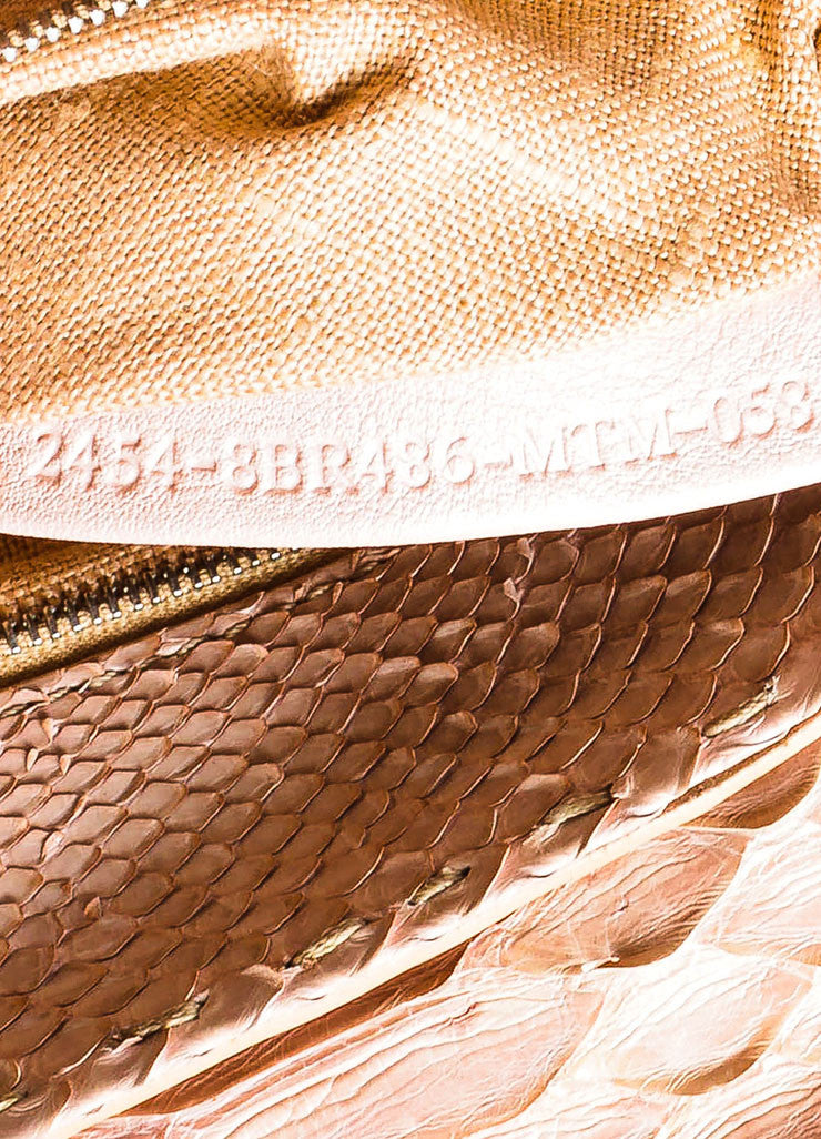 "Tan Fendi Python Snakeskin ""Selleria Linda"" Top Handle Small Handbag Serial"