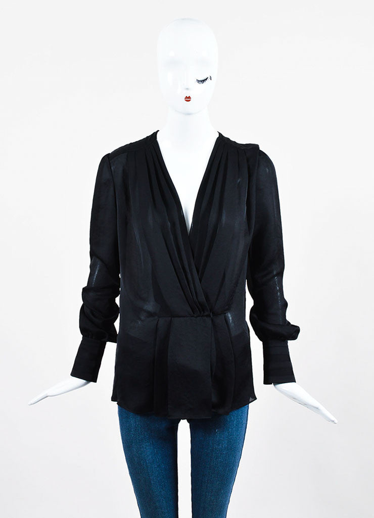 Black Givenchy Sheer Pleated Deep V Long Sleeve Blouse Frontview