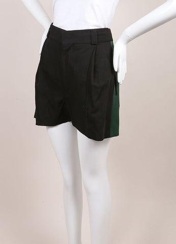 "Haider Ackermann New With Tags Black and Green Grosgrain Panel ""Hathor"" Shorts Sideview"