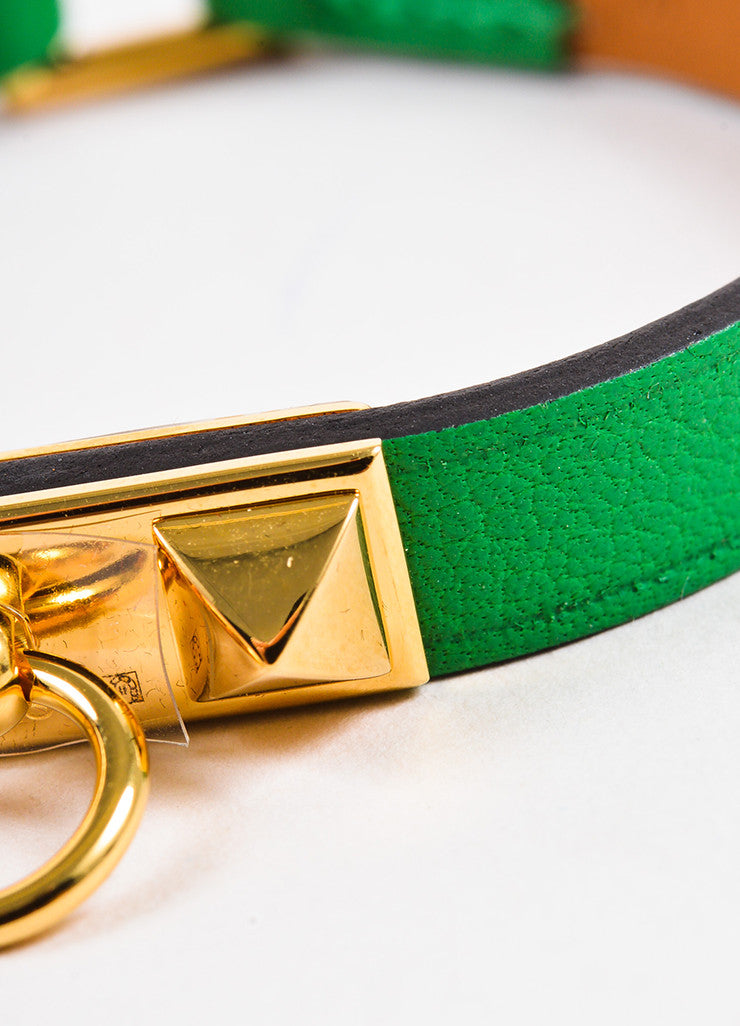 "Hermes Green Leather Gold Plated ""Micro Rivale"" Bracelet Detail"
