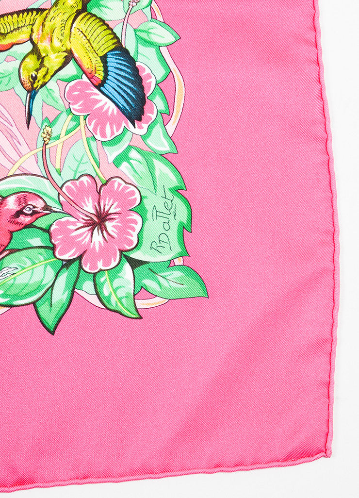 "Hermes Pink, Green, and Beige Silk Twill Leopards ""Jungle Love"" 90cm Square Scarf Detail"