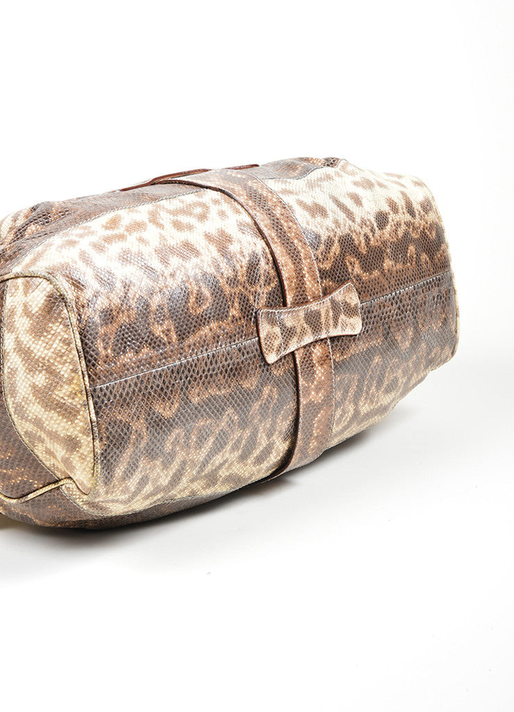 "Beige and Brown Jimmy Choo Snakeskin Leather Gathered ""Ramona"" Shoulder Bag Bottom View"
