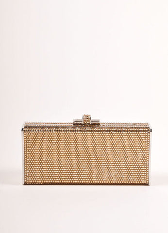 Judith Leiber Gold Crystal Rhinestone Small Rectangular Minaudiere Clutch Bag Frontview