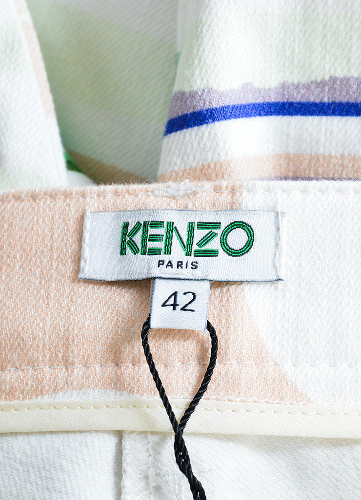 Kenzo Multicolor Torn Paper Print Ankle Zip Straight Leg Jeans Brand