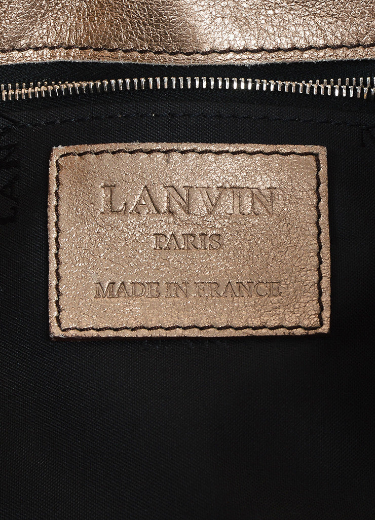 "Metallic Gold Leather Lanvin ""Hero"" Shoulder Bag Brand"