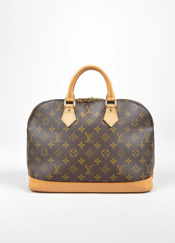 "Brown Louis Vuitton Monogram Canvas ""Alma PM"" Handbag Frontview"