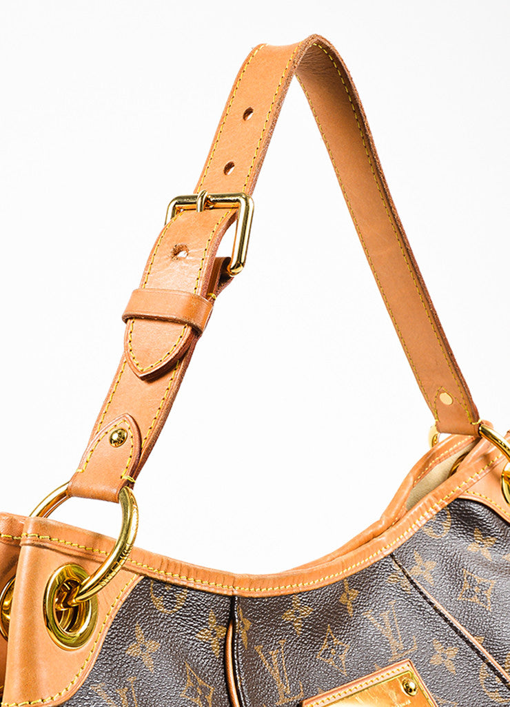 "Louis Vuitton Brown Monogram Coated Canvas ""Galliera PM"" Hobo Bag Detail 2"