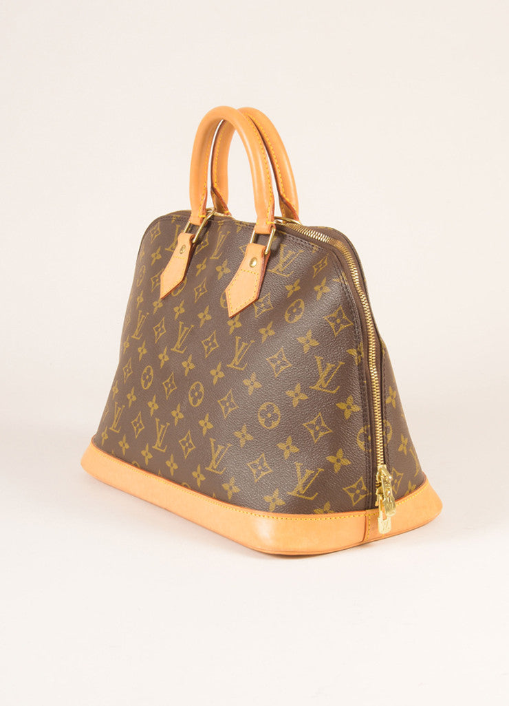 Louis Vuitton Brown and Tan Coated Canvas Leather Monogram Alma PM Bag Sideview