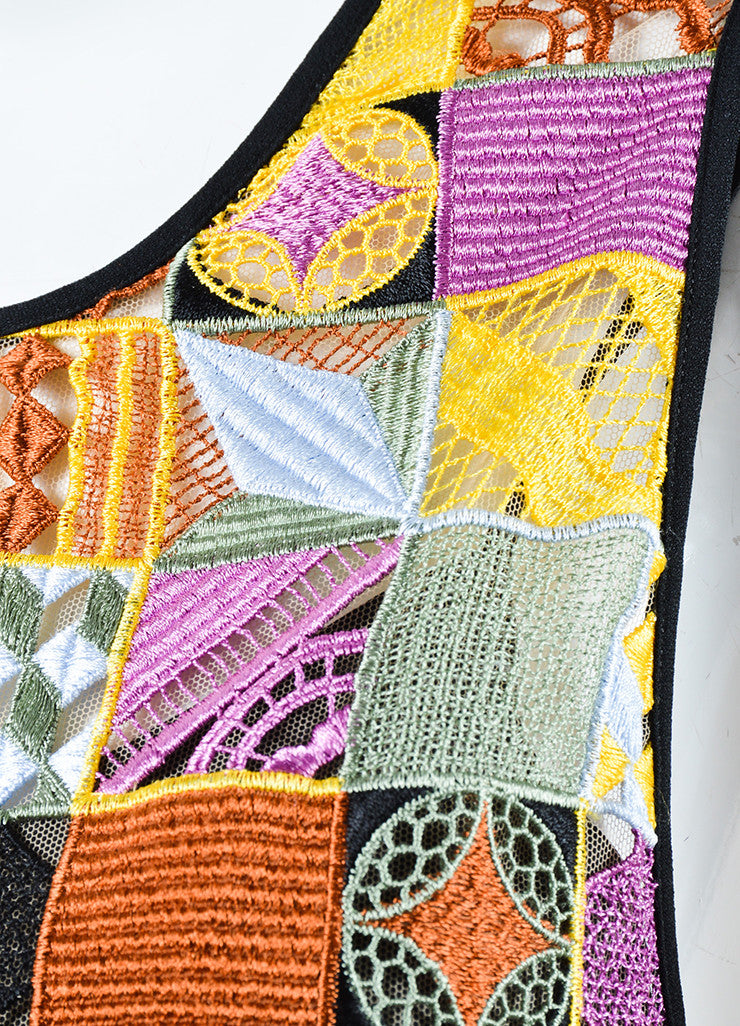 MSGM Multicolor Embroidered Patchwork Sleeveless Shift Dress Detail