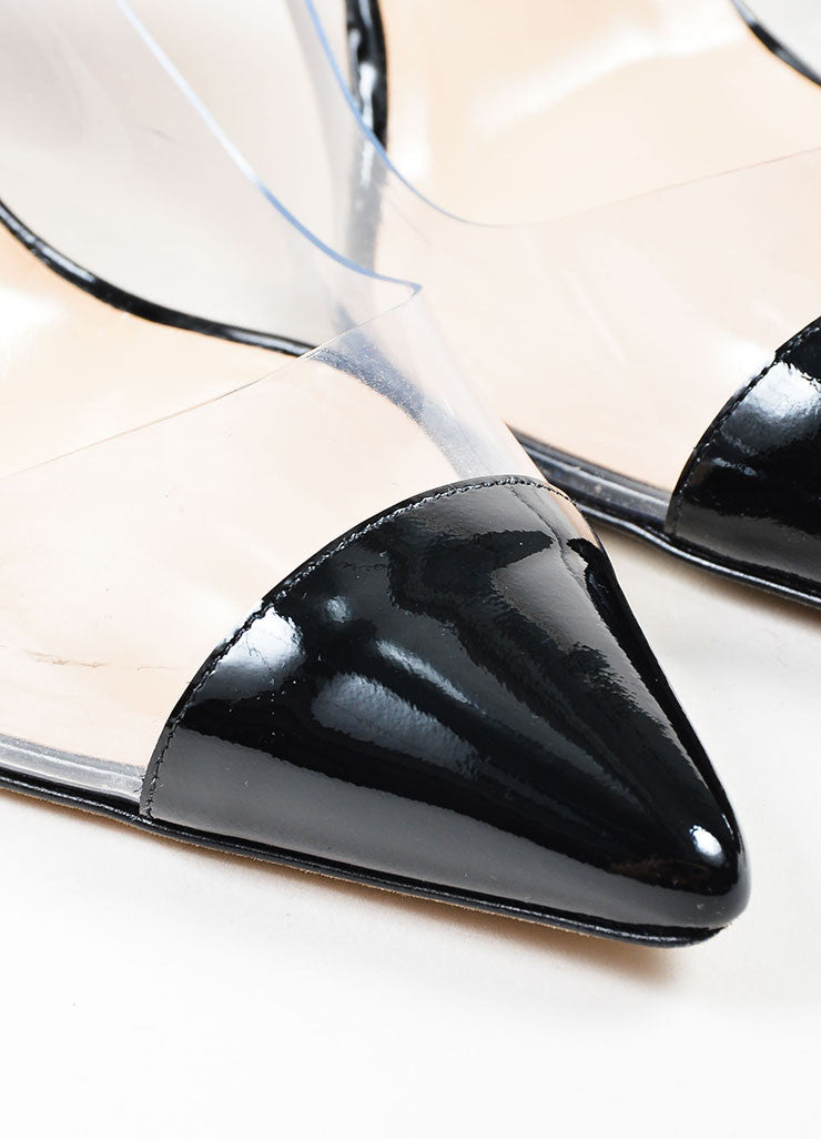 "Black Manolo Blahnik Patent Leather and PVC Pointed Cap Toe ""Pacha"" Pumps Detail"