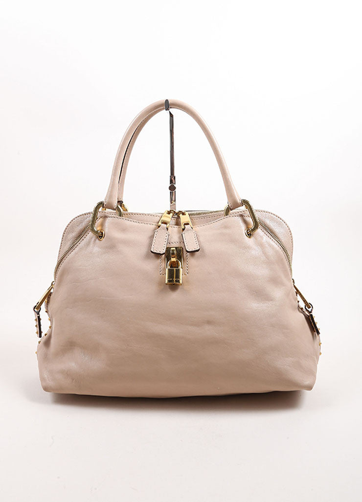 "Marc Jacobs Beige Leather ""Paradise Little Janice"" Studded Satchel Bag Frontview"