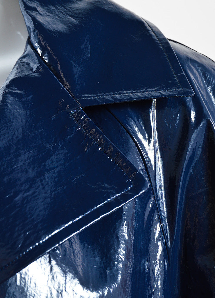 Martin Grant Navy Blue Patent Belted Trench Coat Detail