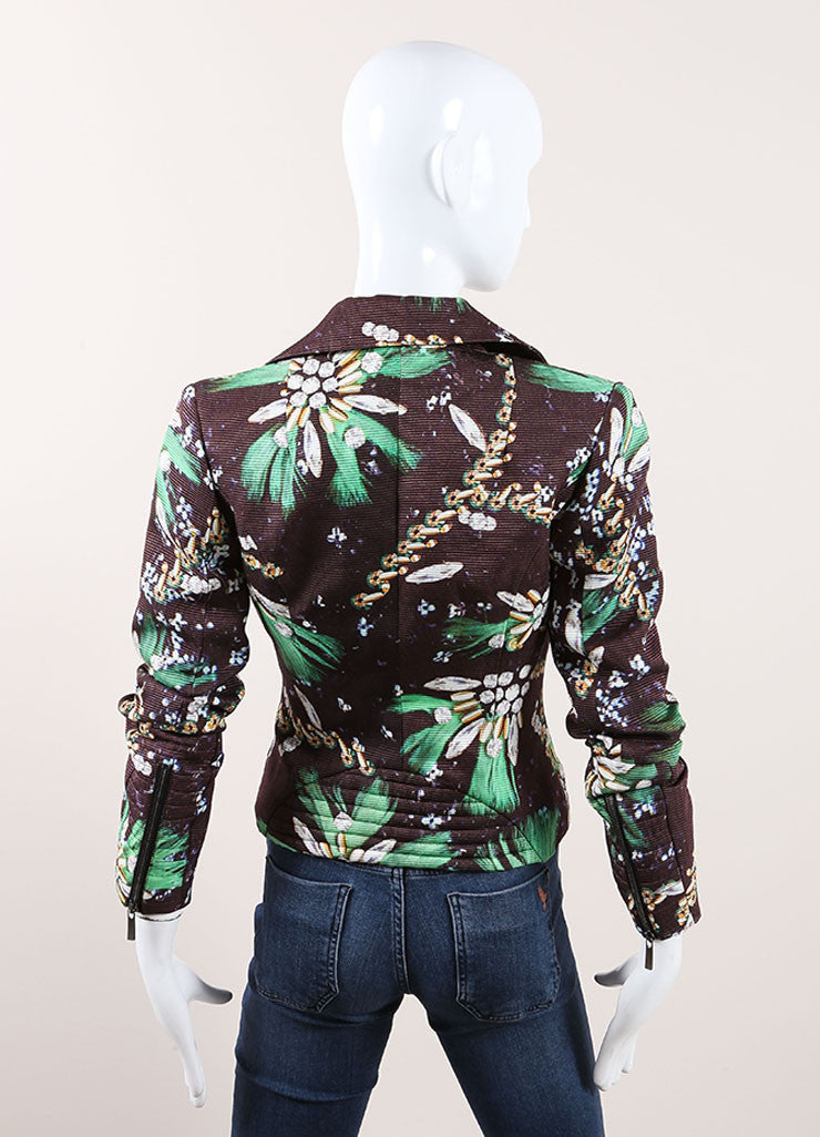Mary Katrantzou New with Tags Brown and Green Cotton and Silk Jewel Print Moto Jacket Backview