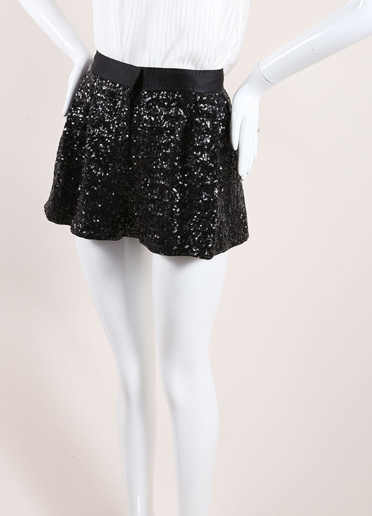 Moschino Cheap & Chic Black Sequin Satin Pleated Shorts Side
