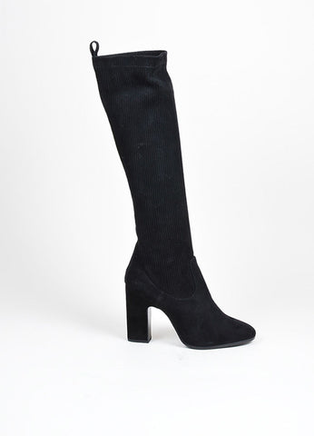 "Black Pierre Hardy Suede Knee High ""Ace"" Ribbed Glove Boots Sideview"