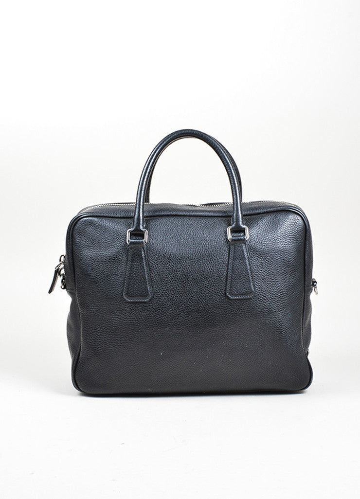 Prada Black Leather Briefcase Frontview