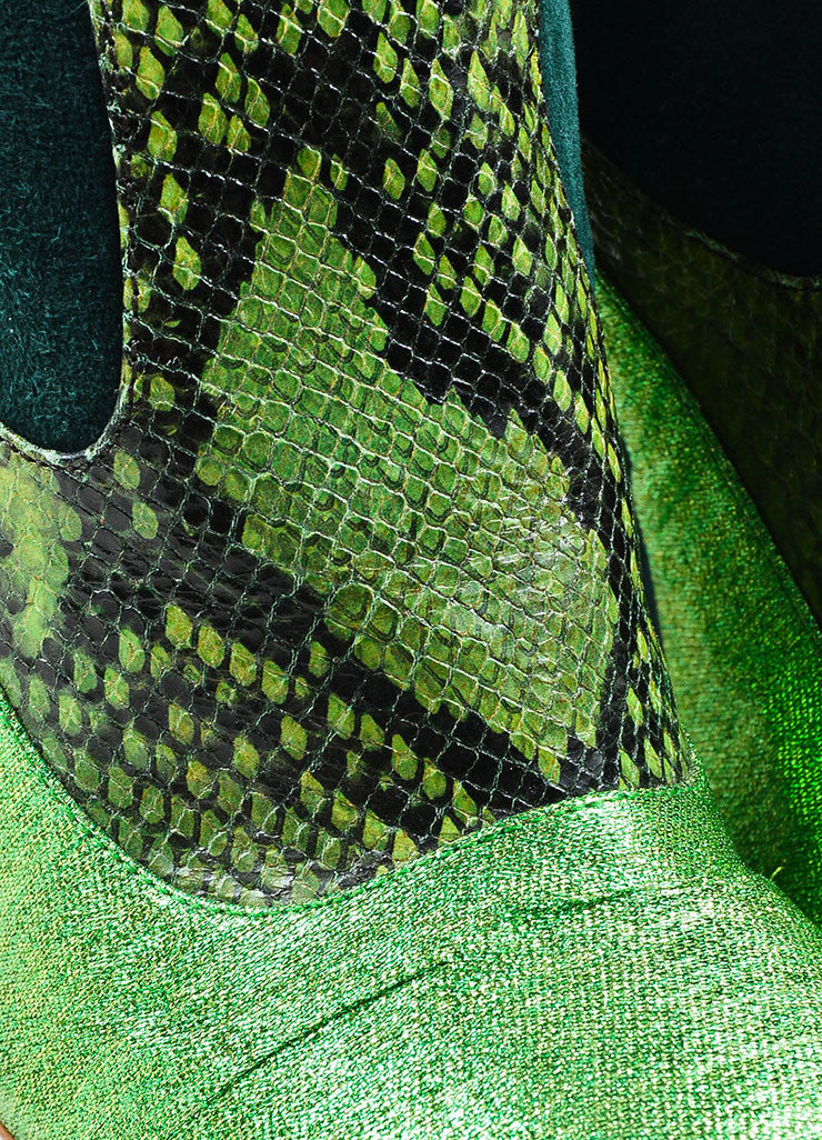 Green Prada Suede and Python Metallic Knee High Heeled Boots Detail