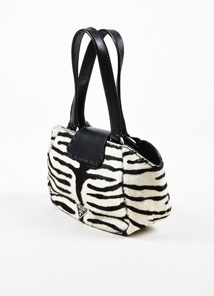 Prada Limited Edition Black and White Leather Pony Hair Zebra Patterned Mini Tote Bag Sideview