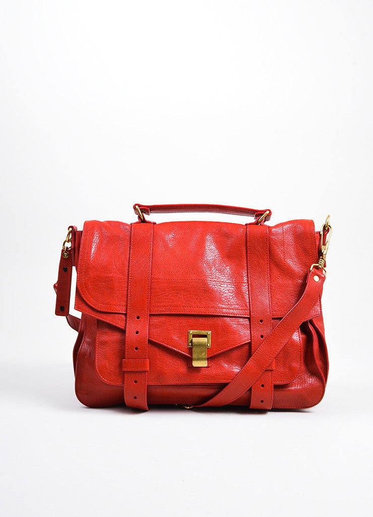 Red Leather Gold Toned Hardware Proenza Schouler Large PS1 Satchel Bag Frontview