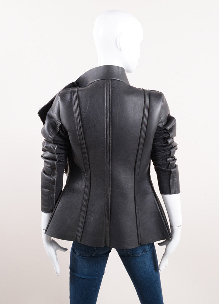 "Rick Owens New With Tags Grey Leather Neoprene Rib Trim ""Eileen"" Jacket Backview"