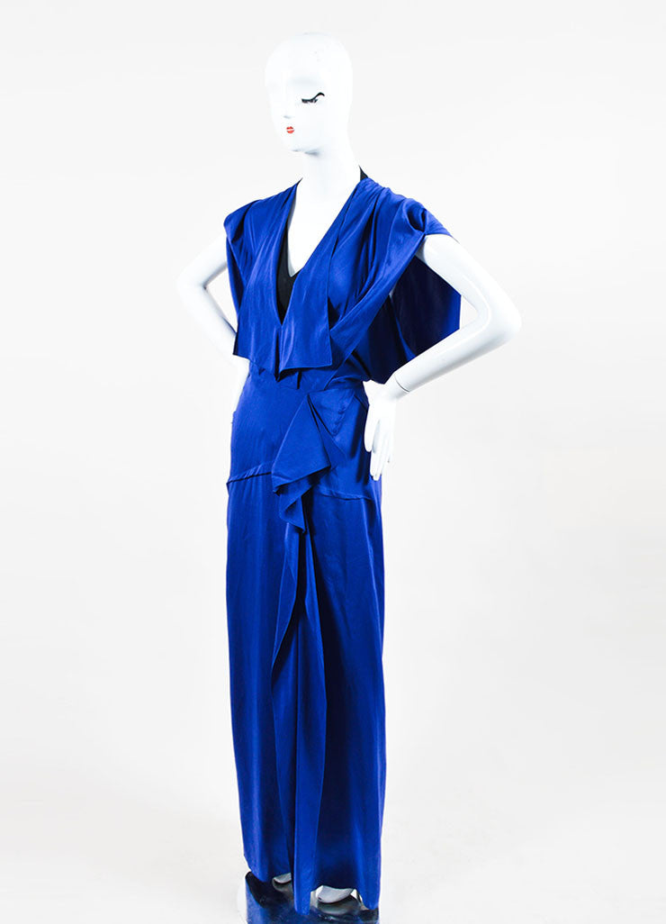 "Blue Roland Mouret Silk Ruffle Sleeveless ""Coppelia"" Gown Sideview"