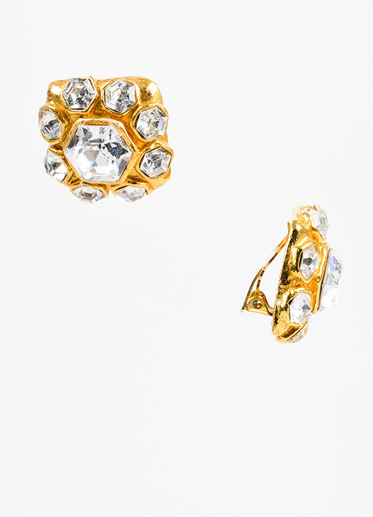 Gold Chanel Glass Crystal Square Clip On Earrings Detail