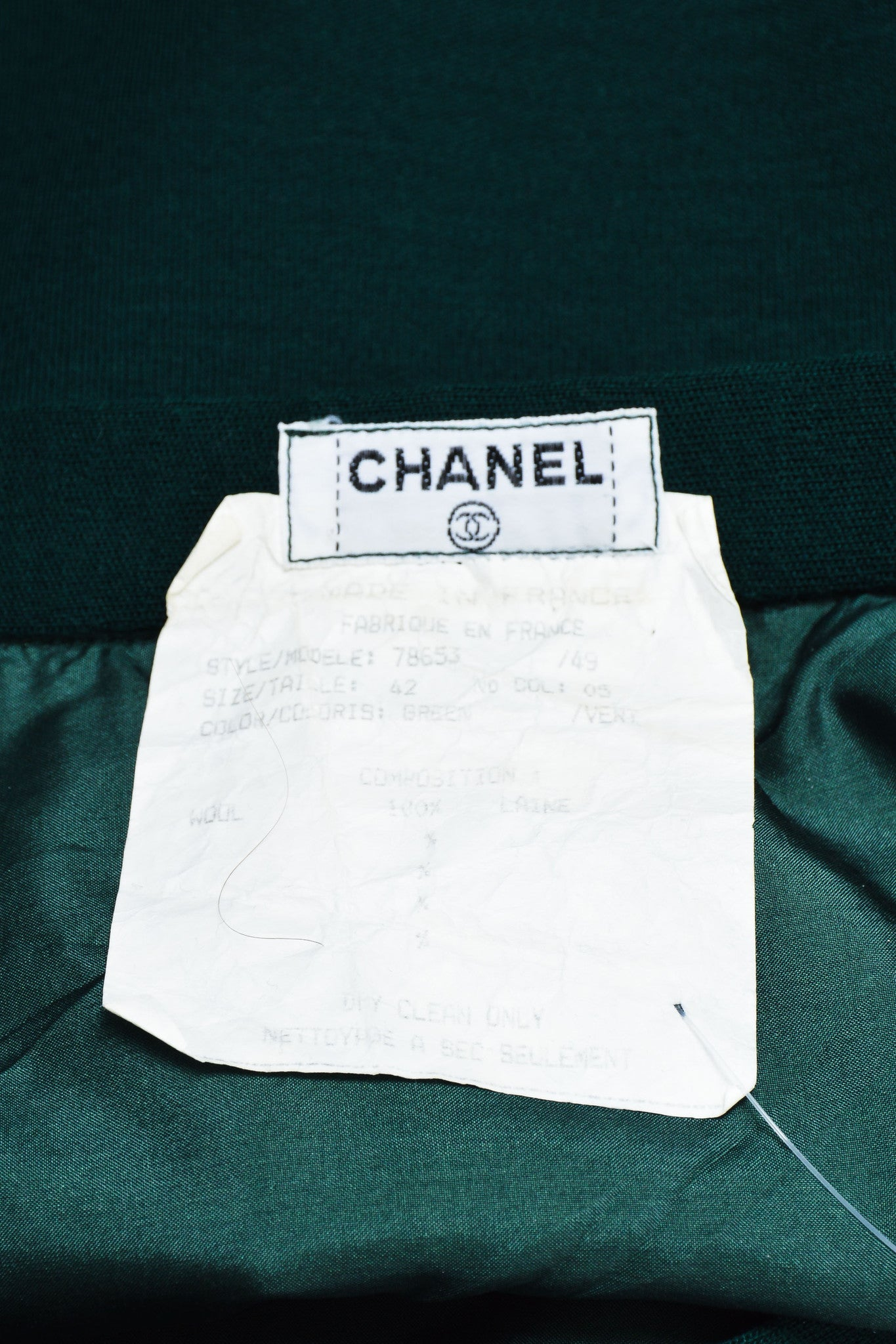"Vintage Green Chanel Wool Sailor Gold ""CC"" Button Pencil Skirt  Brand"