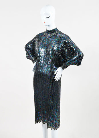 Halston Black Multicolor Sequin Beaded Dolman Sleeve Cocktail Dress Sideview