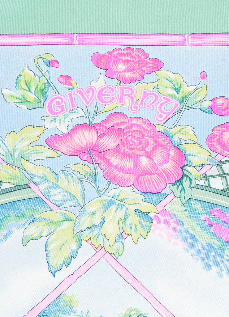 "Multicolor Hermes Silk Floral Print Garden Scene ""Giverny"" Scarf Detail 2"
