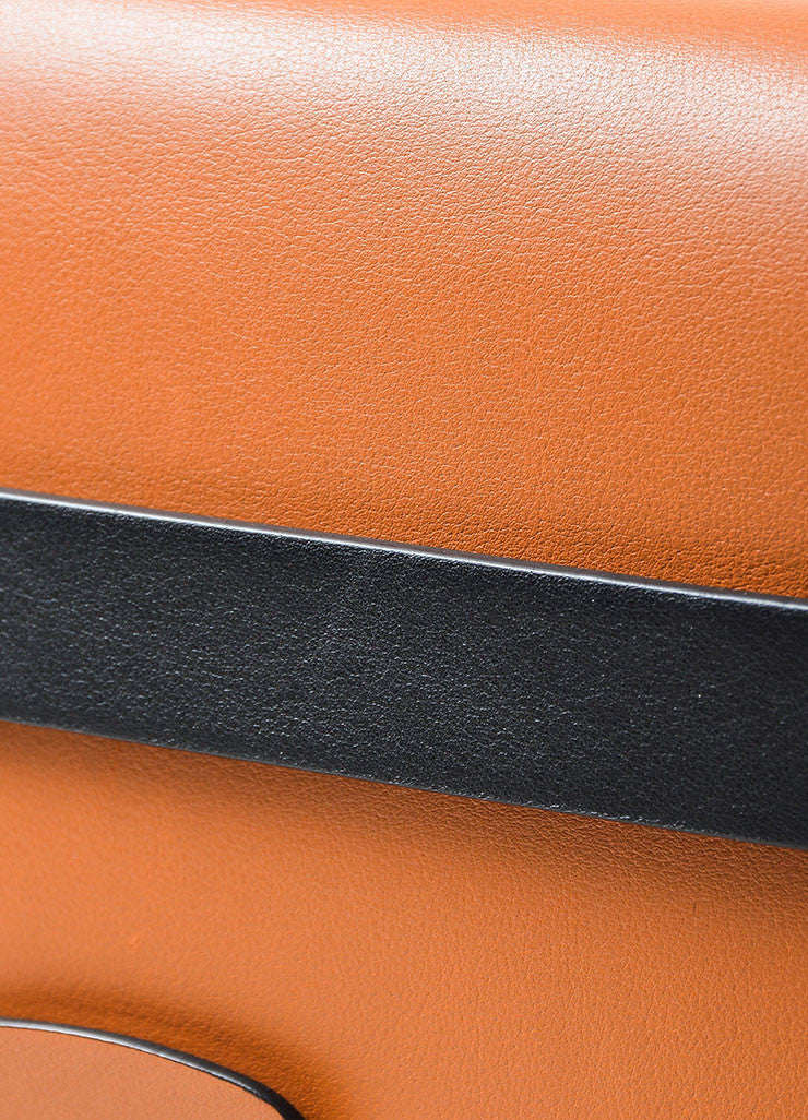 Tan, Pink, and Black Color Block Valentino Leather Rectangle Clutch Bag Detail 2