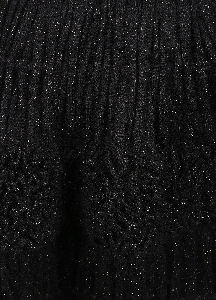 Alaia Black and Gold Knit Metallic Long Sleeve Crop Cardigan and Ruffle Skirt Set Detail