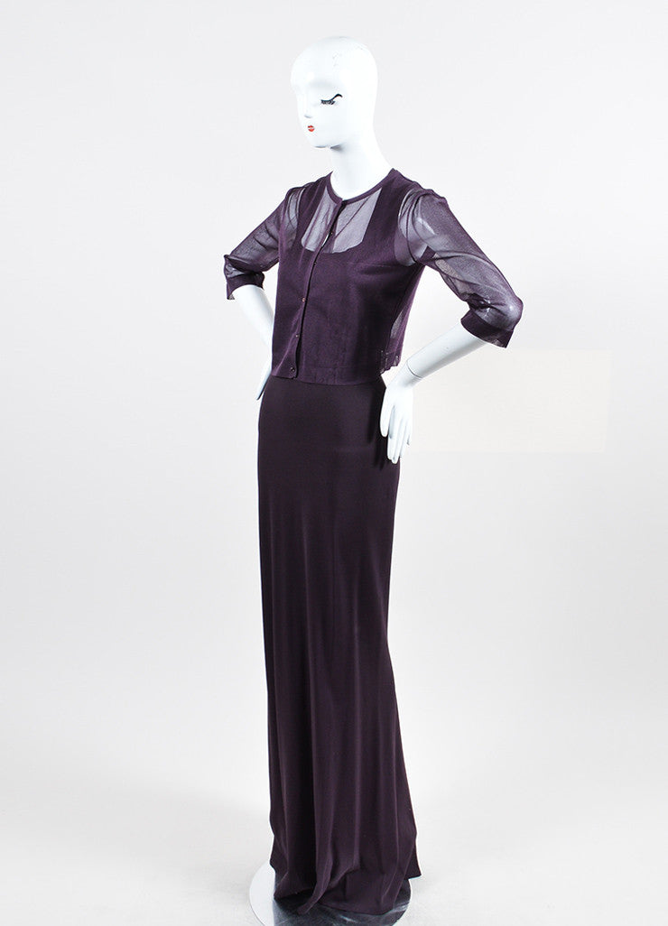 Dark Purple Alaia Square Neck Gown With Sheer Shrug Sideview