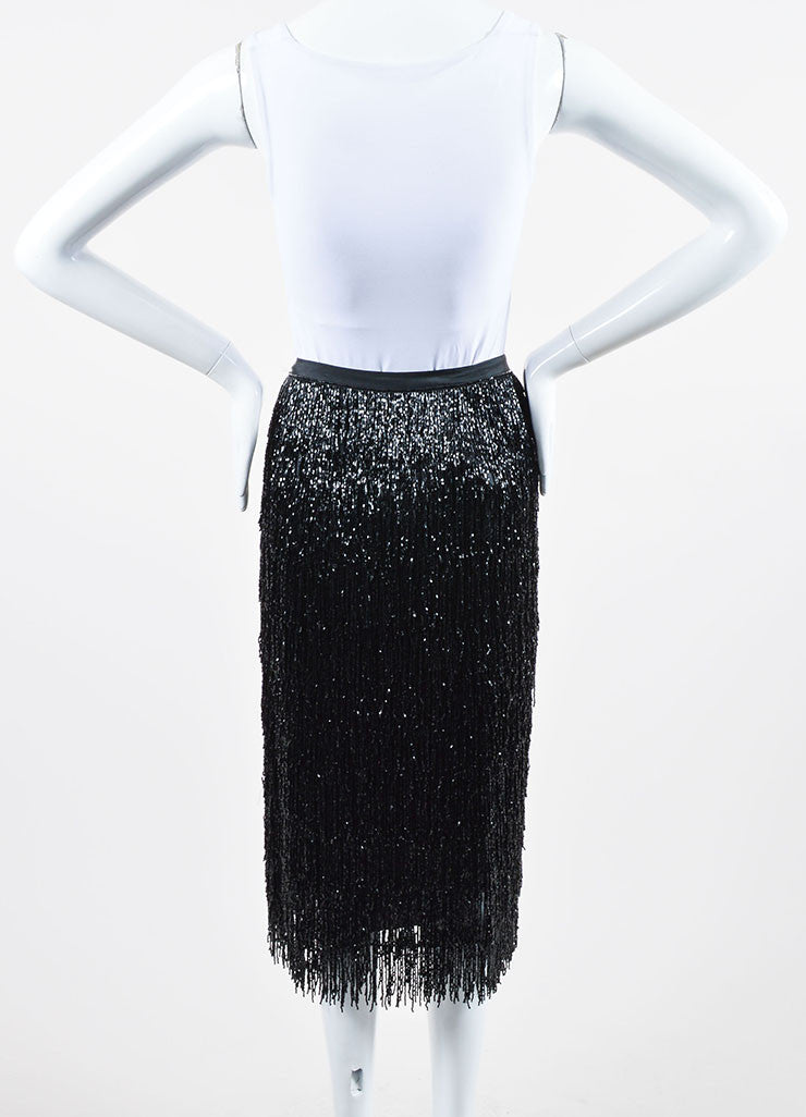 Black Alberta Ferretti Beaded Fringe Pencil Skirt Backview