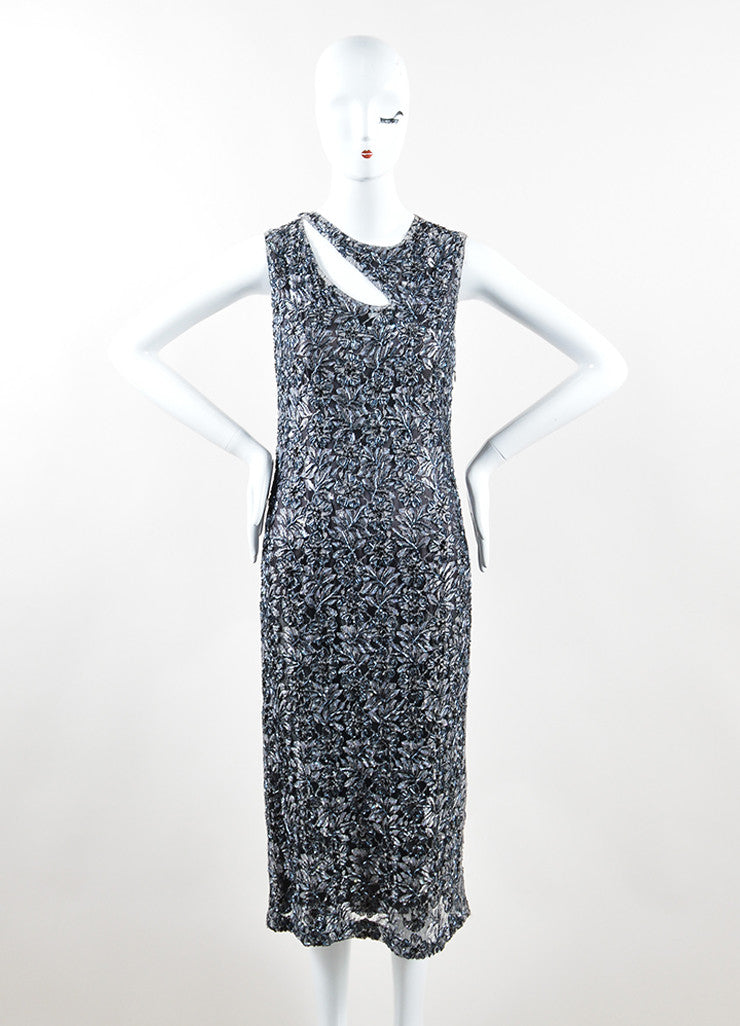 Alexander McQueen Grey and Black Floral Bead Embellished Dress Frontview