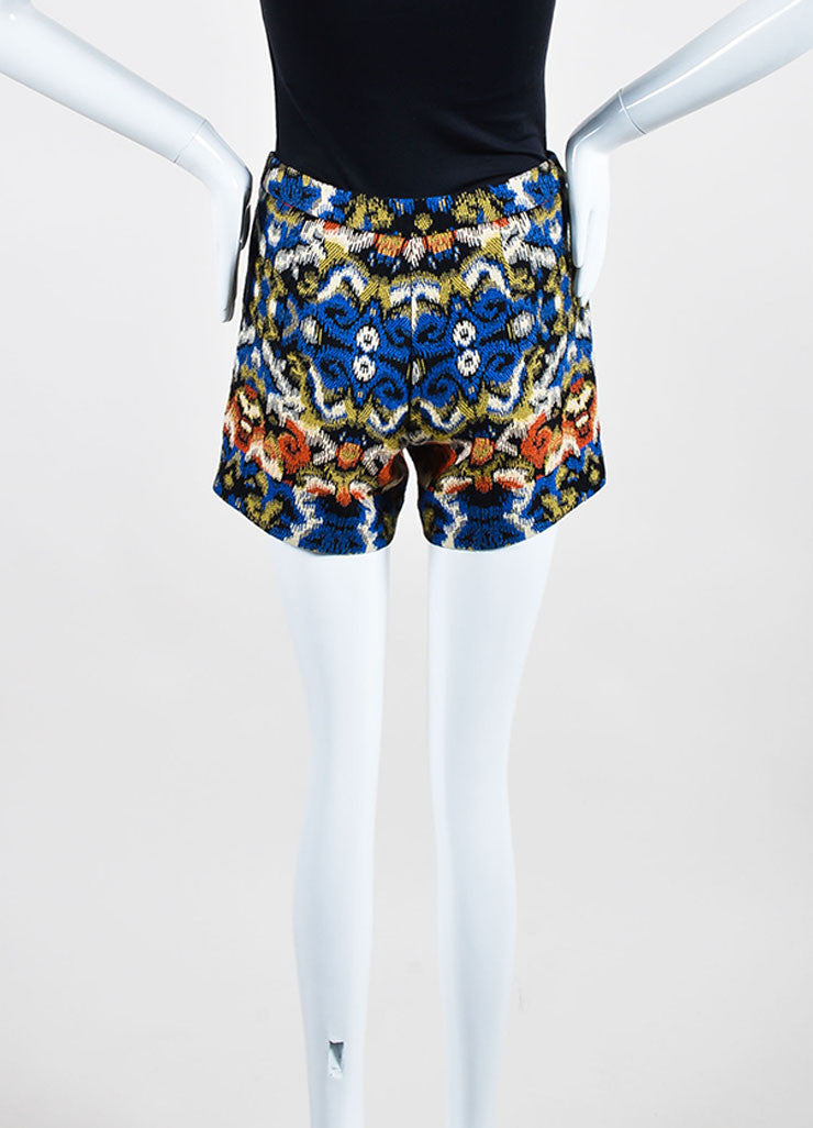 Multicolor Andrew Gn Jacquard Weave Shorts Backview