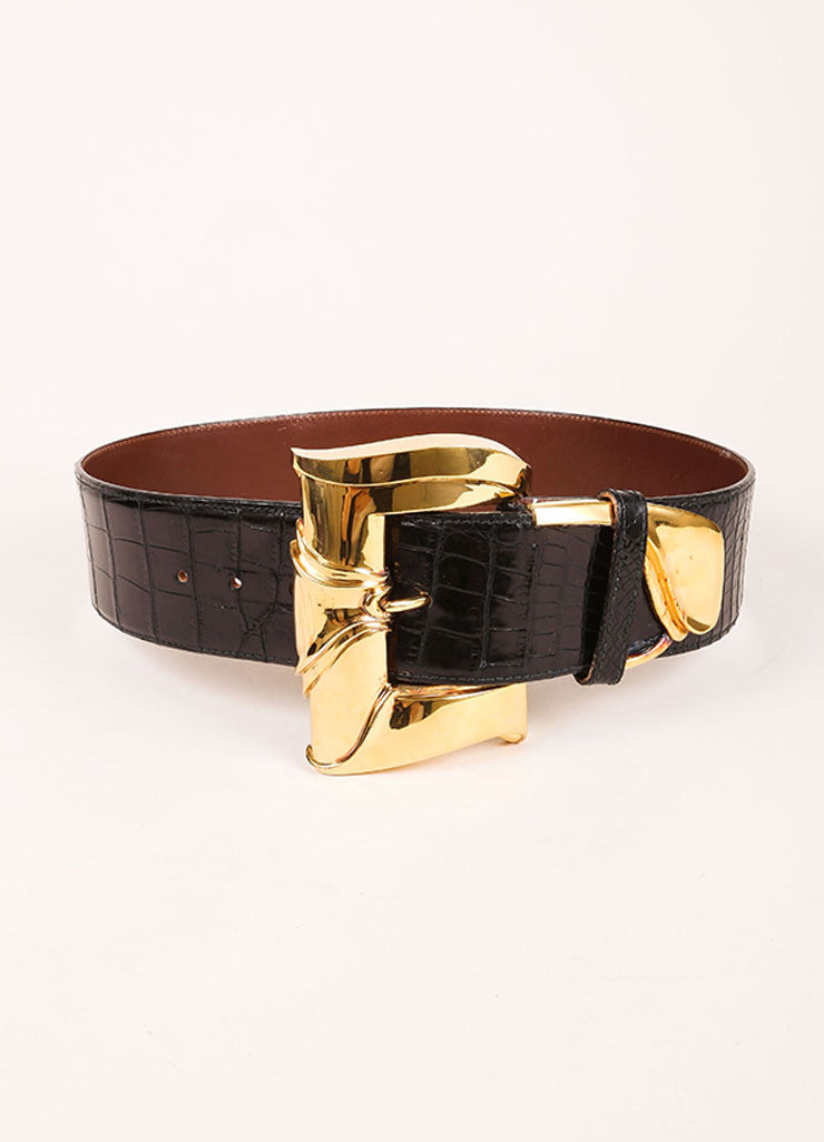 Barry Kieselstein Cord Black and Gold Toned Crocodile Leather Oversized Buckle Belt Frontview