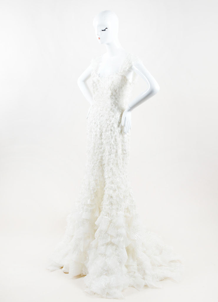 "Carolina Herrera White Bead Off the Shoulder ""Adriana"" Wedding Gown Sideview"