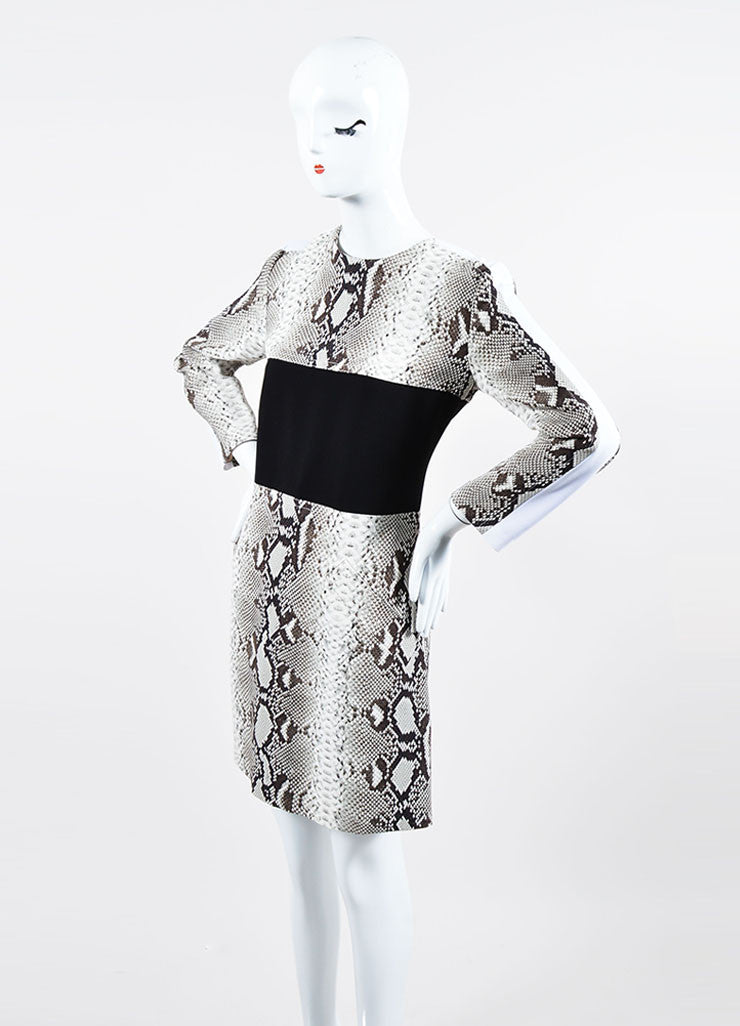 Black and White Carven Snakeskin Print Colorblock Long Sleeve Sheath Dress Sideview