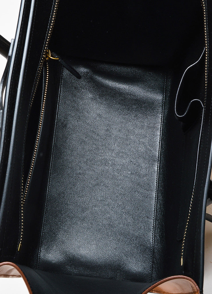 "Black Camel Nude Celine Leather Tricolor ""Mini Luggage"" Tote Bag Detail 4"