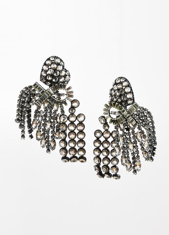"Painted Aluminum and Crystal Celine ""Riviere"" Heart Chandelier Earrings Frontview"
