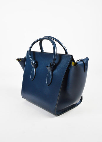 "Celine Navy Leather Double Handle ""Mini Tie Tote"" Bag Sideview"